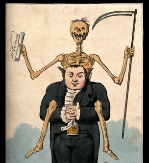 V0011675 A doctor, straddled by a skeleton, holds a full purse in his Credit: Wellcome Library, London. Wellcome Images images@wellcome.ac.uk http://wellcomeimages.org A doctor, straddled by a skeleton, holds a full purse in his hands; signifying that he lives well off others' deaths. Coloured engraving. Published:  -   Copyrighted work available under Creative Commons Attribution only licence CC BY 4.0 http://creativecommons.org/licenses/by/4.0/